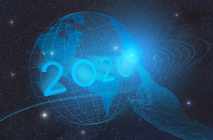 the advent of the new technological year 2020 on the planet Earth in outer space, conceptual representation of pressing the button with the hand of artificial intelligence